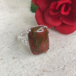 Redseam Agate Sterling Silver Ring
